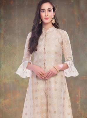 Weaving Chanderi Party Wear Kurti in Cream