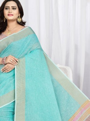 Weaving Cotton Aqua Blue Trendy Saree