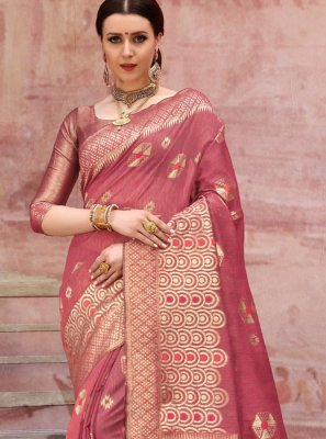 Weaving Cotton Casual Saree in Hot Pink