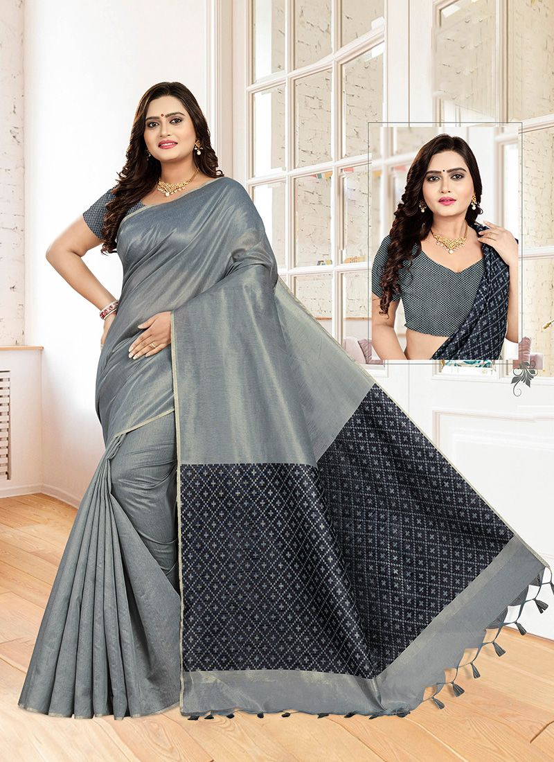 Weaving Cotton Designer Traditional Saree in Grey