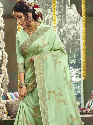 Weaving Cotton Green Classic Designer Saree