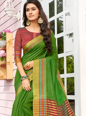 Weaving Cotton Multi Colour Designer Saree