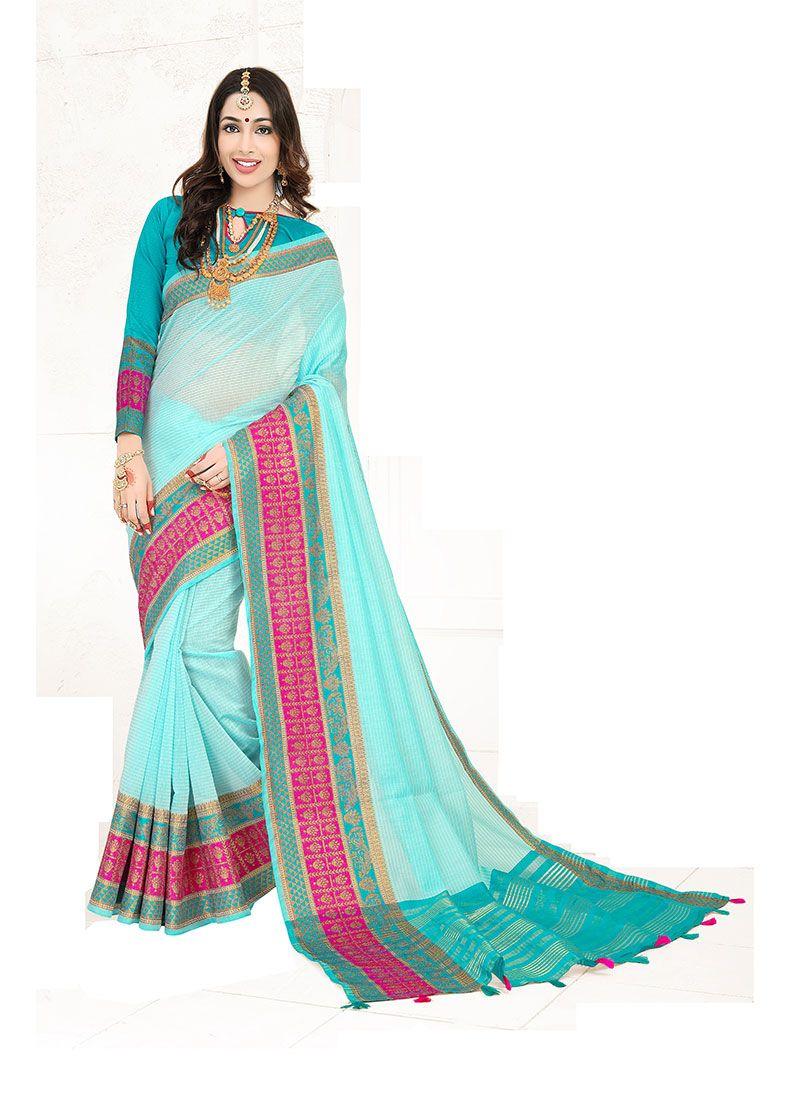 Weaving Cotton Silk Designer Traditional Saree in Blue