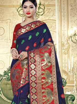 Weaving Cotton Silk Navy Blue Designer Saree