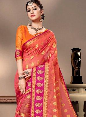 Weaving Cotton Silk Peach Trendy Saree