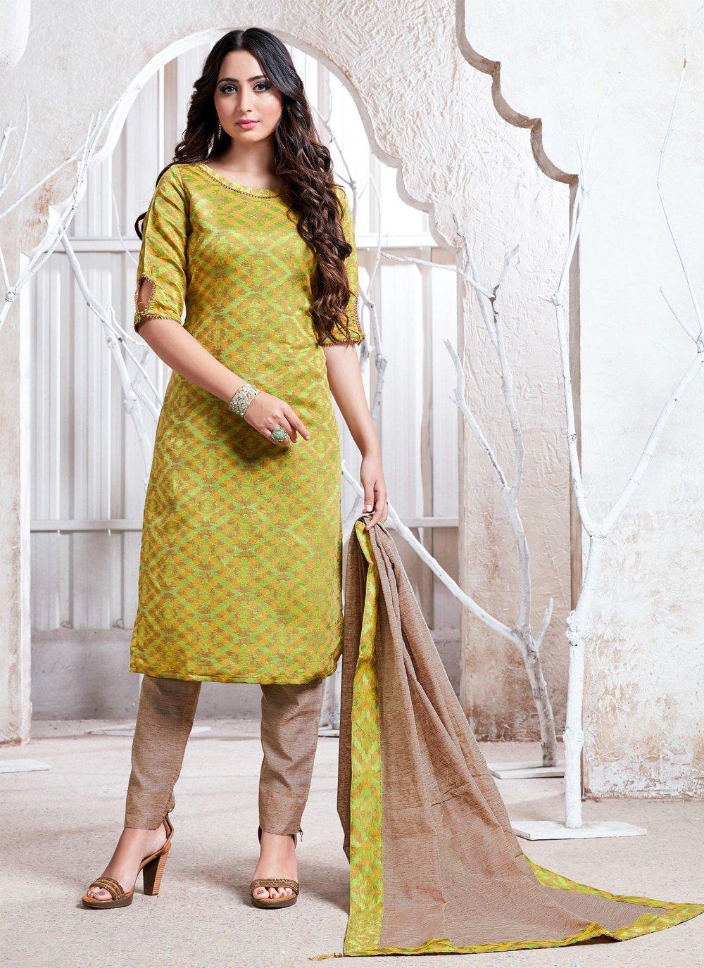 Weaving Cotton Silk Salwar Suit in Green
