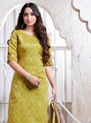 Weaving Cotton Silk Salwar Suit in Green
