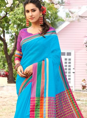 Weaving Cotton Trendy Saree in Multi Colour