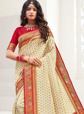 Weaving Cream Bollywood Saree