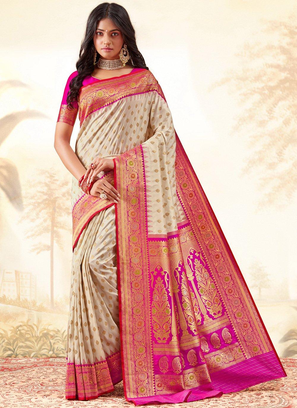 Weaving Cream Classic Designer Saree