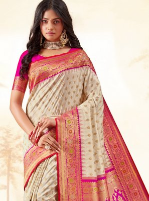 Weaving Cream Classic Designer Saree