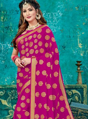 Weaving Crepe Silk Designer Traditional Saree in Magenta
