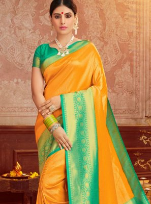 Weaving Green and Mustard Trendy Saree
