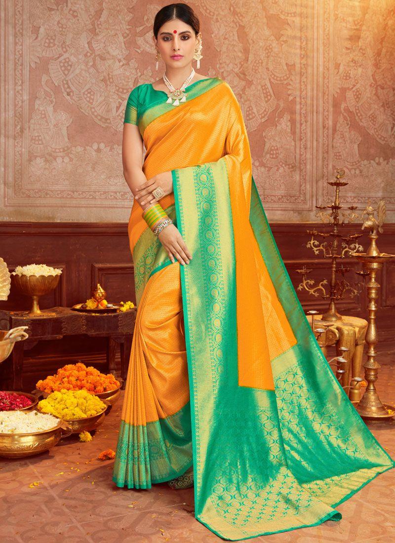 Weaving Green and Mustard Trendy Saree
