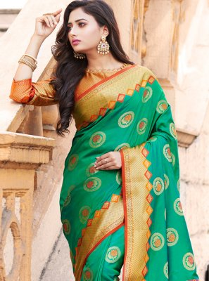 Weaving Green Art Banarasi Silk Contemporary Saree
