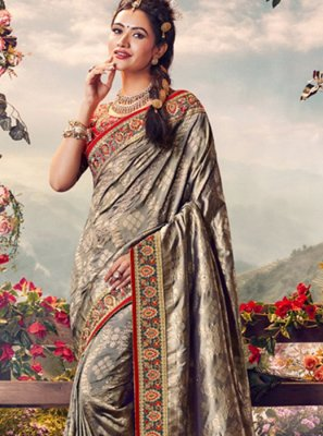 Weaving Grey Art Banarasi Silk Designer Traditional Saree