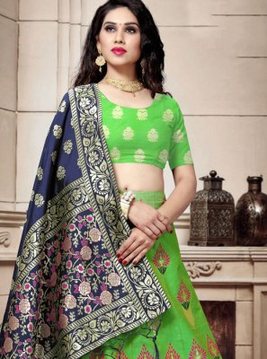 Weaving Green Banarasi Silk Lehenga Choli