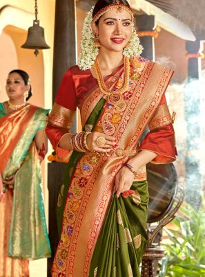 Weaving Green Classic Designer Saree