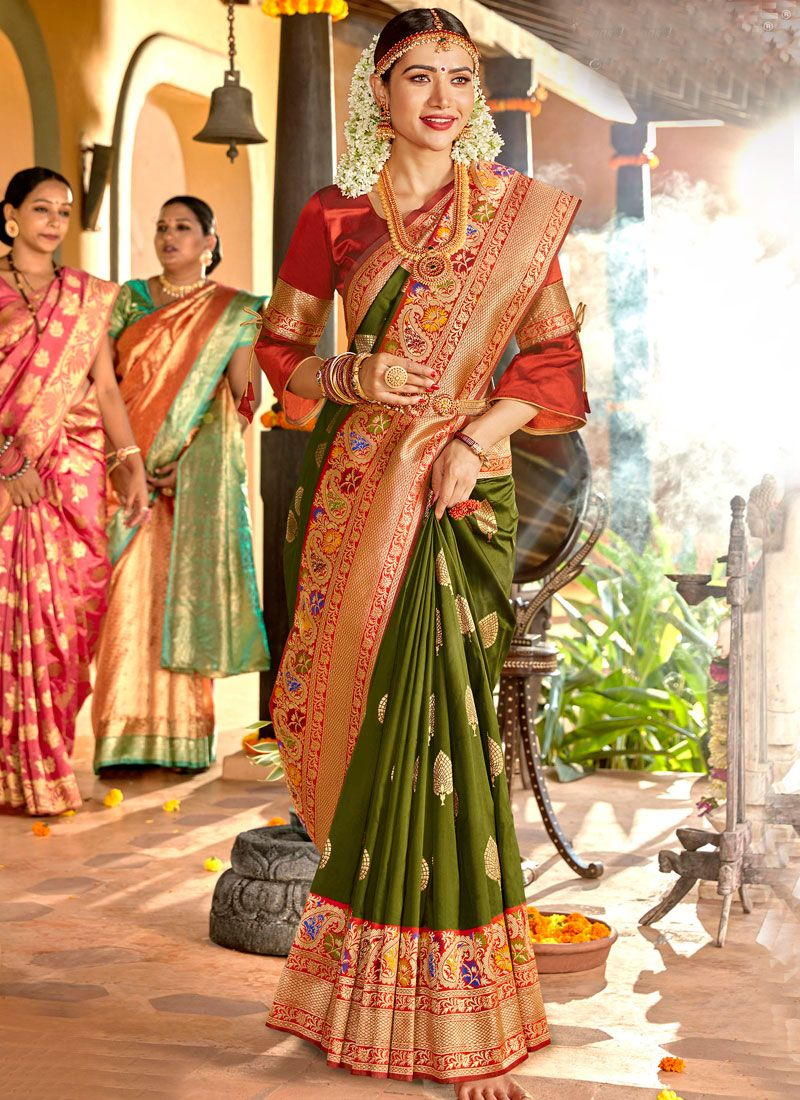 Weaving Green Classic Designer Saree