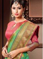 Weaving Green Cotton Silk Designer Bollywood Saree