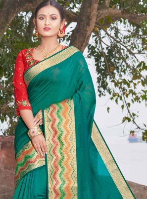 Weaving Green Handloom silk Designer Saree