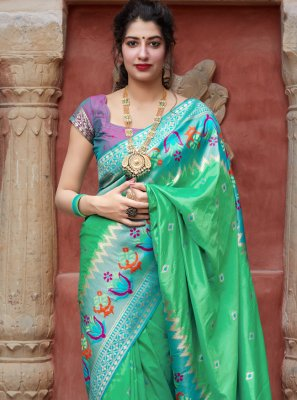 Weaving Green Silk Traditional Designer Saree