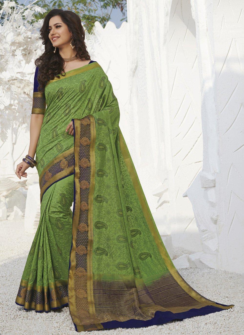 Weaving Green Silk Traditional Saree