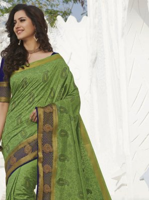 Weaving Green Silk Traditional Saree