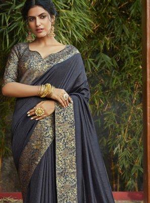 Weaving Grey Art Silk Classic Designer Saree