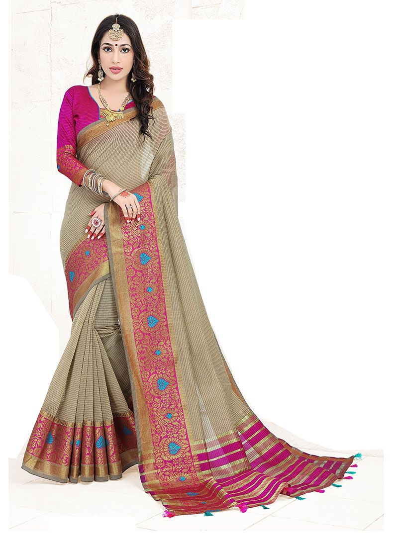 Weaving Grey Art Silk Cotton Designer Traditional Saree
