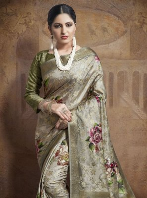 Weaving Grey Bollywood Saree