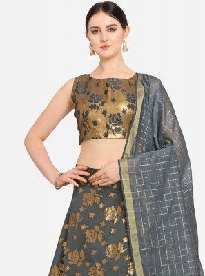 Weaving Grey Jacquard Designer Lehenga Choli