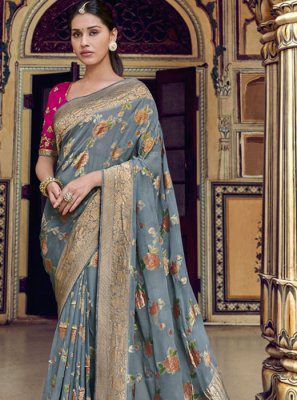 Weaving Grey Printed Saree