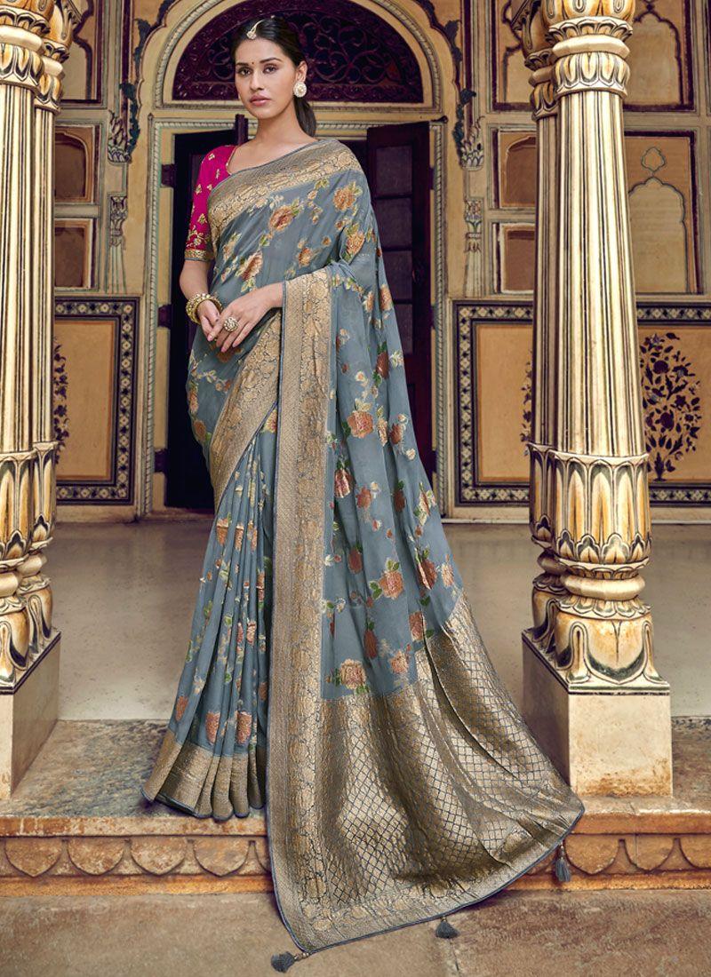 Weaving Grey Printed Saree