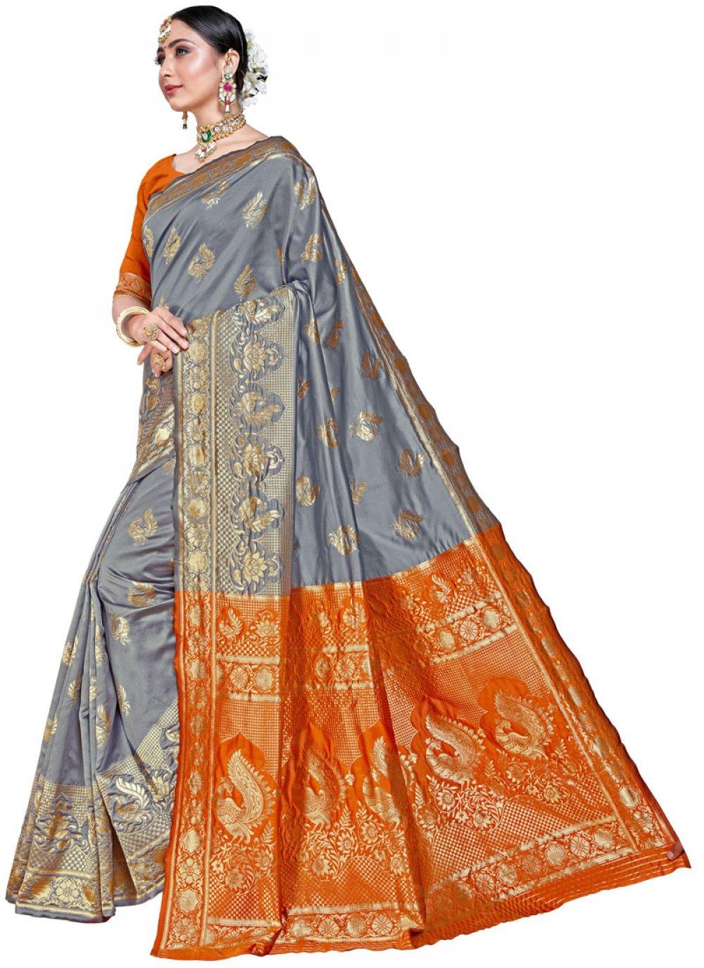 Weaving Grey Silk Classic Designer Saree