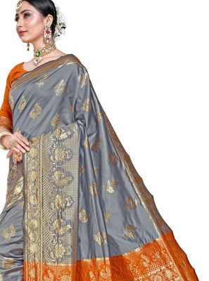 Weaving Grey Silk Classic Designer Saree