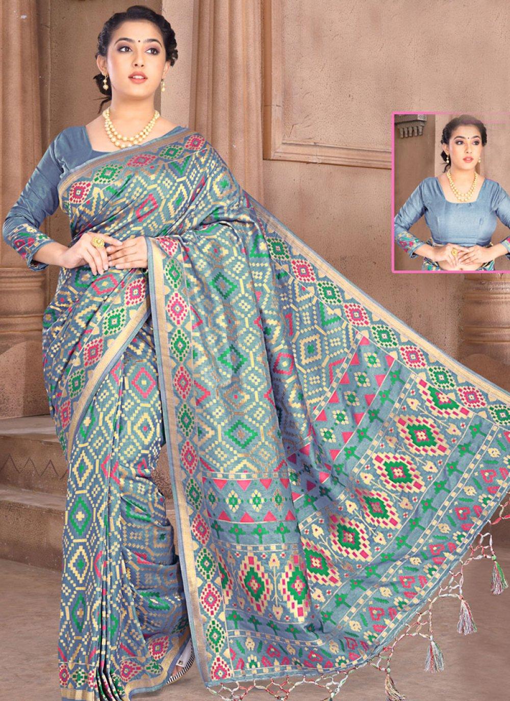 Weaving Grey Silk Designer Saree