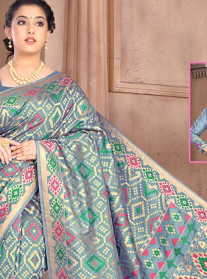 Weaving Grey Silk Designer Saree