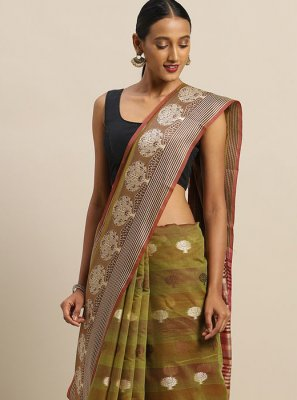 Weaving Handloom Cotton Contemporary Saree in Green