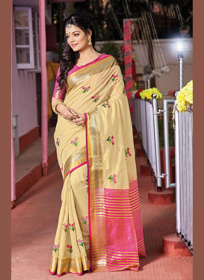 Weaving Handloom Cotton Trendy Saree