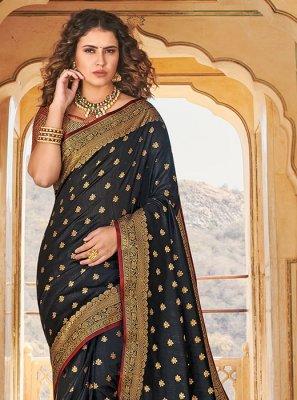 Weaving Handloom silk Designer Saree in Black