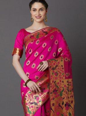 Weaving Hot Pink Art Silk Traditional Designer Saree