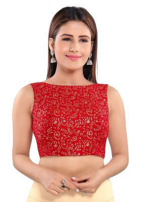 Weaving Jacquard Blouse in Red