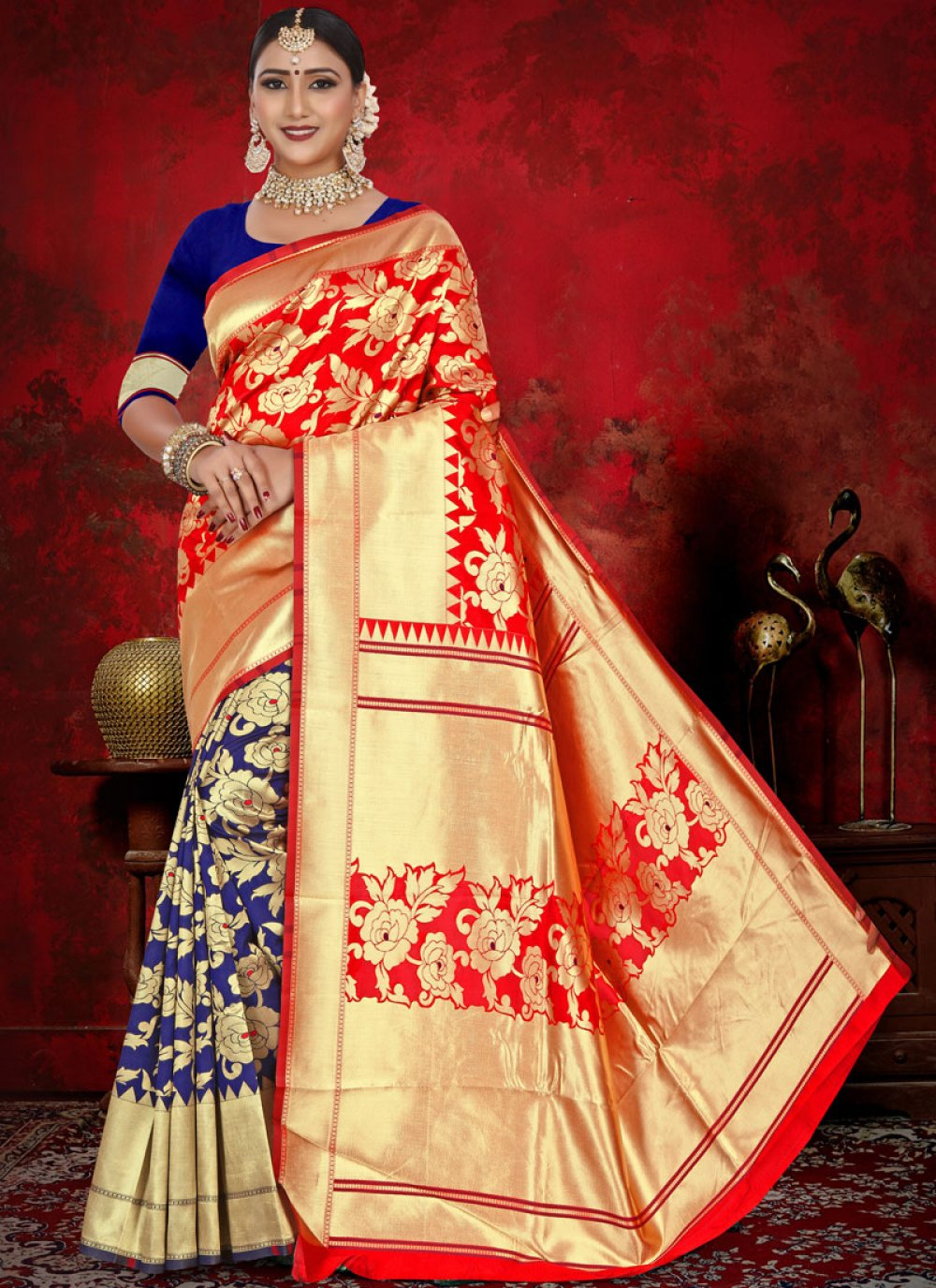 Weaving Jacquard Half N Half  Saree in Blue and Red