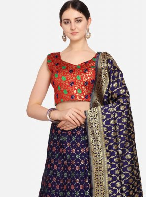 Weaving Jacquard Lehenga Choli in Blue