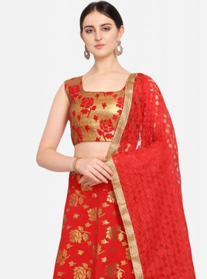 Weaving Jacquard Red Lehenga Choli