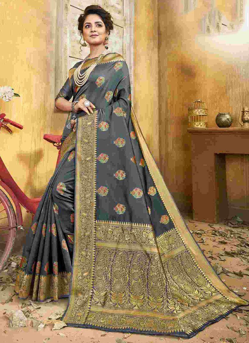 Weaving Jacquard Silk Classic Saree in Grey