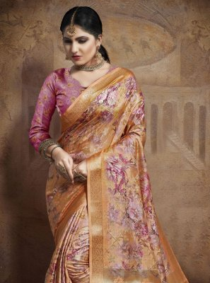 Weaving Jacquard Silk Silk Saree in Orange