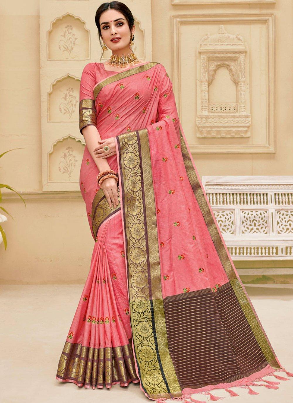 Weaving Jute Silk Pink Designer Traditional Saree