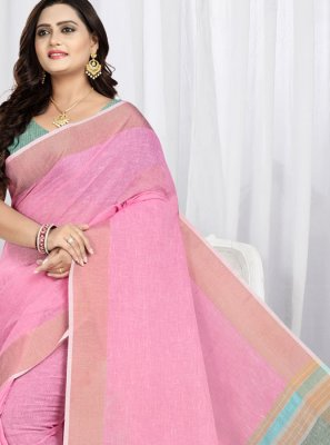 Weaving Linen Trendy Saree in Pink